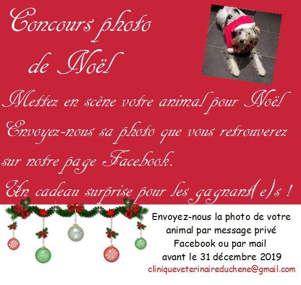 Mettez en scène votre animal pour Noël, et envoyez-nous sa photo que vous retrouverez sur notre page. Un cadeau surprise pour les gagnant(e)s !