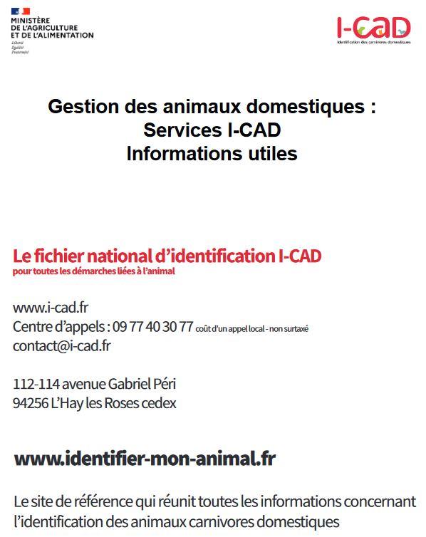 Informations utiles sur les Services I-CAD pour l'Identification des animaux domestiques